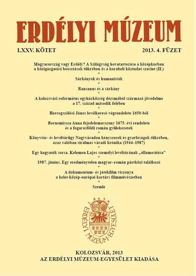 Erdélyi Múzeum LXXV. kötet, 2013.4. füzet